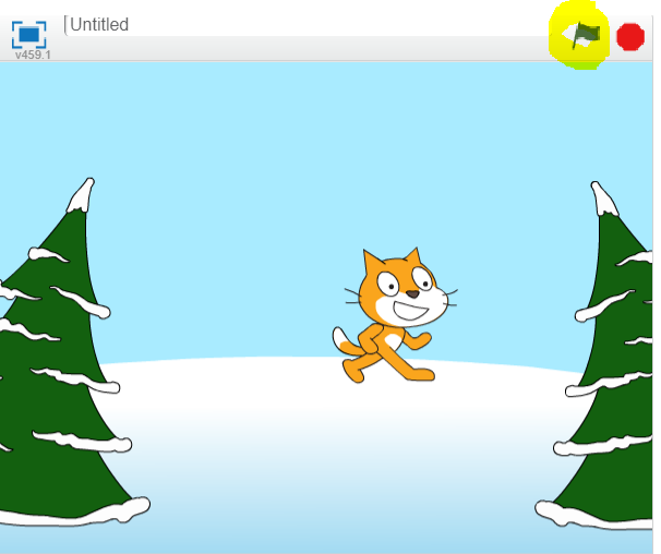 See What Happens When I Click The Green Flag With My Mouse Scratch Cat Moves Forward 20 Steps And Then Says Hello