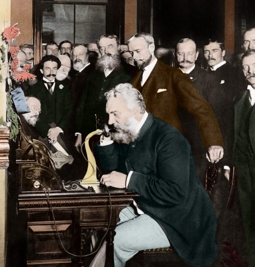 1892, New York, New York, USA --- Alexander Graham Bell at the New York end of the first long-distance telephone call to Chicago in 1892. --- Image by © Stefano Bianchetti/Corbis